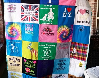 Tshirt Quilt, Memory Quilt, QUEEN or KING CUSTOM 40 Plus Logos