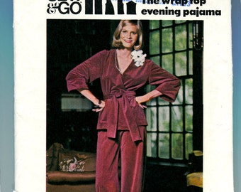 Butterick 3950 Wrap Top Evening Pajama Vintage Sewing Pattern Size 8 UNCUT