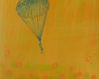 original small affordable art - Parachute into Dots (green) - one of a kind small acrylic painting by Irene Stapleford - wantknot shop