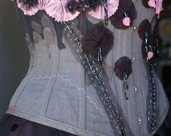 Underbust Pink and Black Upcycled Reclaimed Repurposed SHIP NOW Adorned ooak  with Pink Skulls Waist training Tightlacing