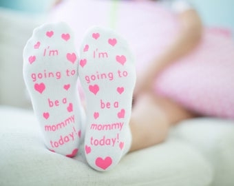 I'm going to be a mommy today!  Pink Fun Labor Delivery Push Non Skid Hospital Socks For Mom To Be, Delivery Must Have, Baby Shower Gift