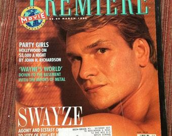 Patrick Swayze,Swayze Gift,Swayze Photo,Patrick Swayze Collectible,Premiere Magazine,90s Magazine,The Beast TV,Movie Star Magazine,90s Star