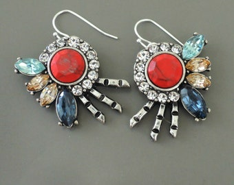Art Deco Earrings - Vintage Inspired Earrings - Silver Earrings - Red Earrings - Crystal Earrings - Blue Earrings - Colorful Earrings