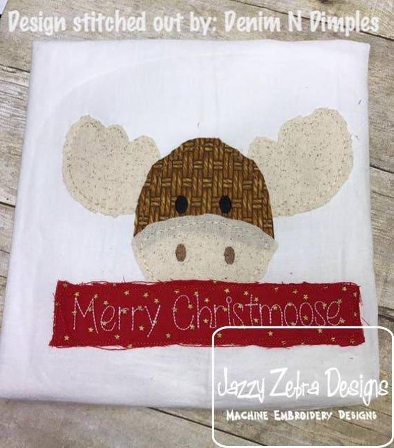 Merry Christmoose shabby chic appliqué embroidery design - moose appliqué design - Christmas appliqué design - shabby chic appliqué design