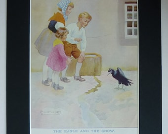 1920s Vintage Aesop's Fable Print - Black Crow Print - Eagle & The Crow Picture - Jack Orr - Crow Decor - Morality Tale - Bird Illustration