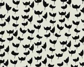 1 Yard HEMMA Lotta Jansdotter TULIPS Floral 42115-9 GRAY Modern Graphic Windham Scandinavian Quilting Sewing Fabric