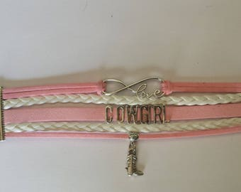Pink and White Cowgirl Bracelet, Cowgirl Infinity bracelet, Boho Wrap bracelet, Pink Love  Wrap Bracelet, with a Charm