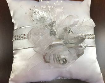 Ring Bearer Pillow, White and Silver