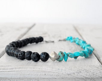 Lava and Turquoise Necklace, Greek Jewelry, Dainty Necklace, Black Lava Stone Jewelry, Santorini Necklace, Everyday Necklace, Gift for Her