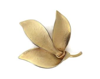 Giovanni Brooch, Vintage Leaves Brooch, Matte Gold Designer Pin, Gift For Her