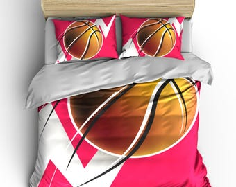 Abstract Girls Mod Basketball Theme Bedding, Hot Pink, Black and  White, available Toddler, Twin, Full/Queen, and King Size