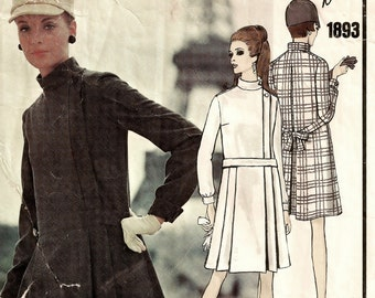 """A Standing Collar, Long Cuffed Sleeve, Front & Inverted Back Pleat, Tie Back Coat Dress Pattern for Women: Size 10 Bust 32-1/2"""" • Vogue 1893"""