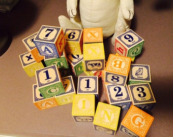 Vintage Set of 27 French and English Wooden -ABC Number and Animals -Children's Learning Blocks