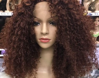 Deep Curly Brown Wig, Chocolate Brown Wig, Synthetic High Quality Fibre Wig, Golden Brown Wig