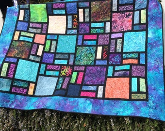 Blue Stained Glass Window quilt/quilts for sale/batik quilt for sale/blue batik quilt/lap quilt/throw quilt/gift for her/gift for him