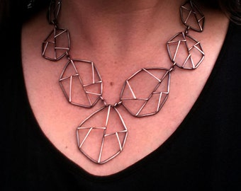 "Sterling Silver Statement Necklace,  ""Fractured #3"", Geometric Necklace, Big Bold Necklace, Contemporary Jewelry, Metalsmith Necklace"
