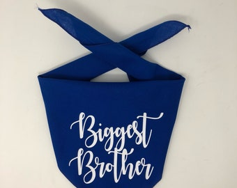 SALE- Slightly imperfect Biggest Brother, Dog Pregnancy Announcement Bandana, Big Brother Dog Bandana, Second Child Dog Pregnancy Announceme