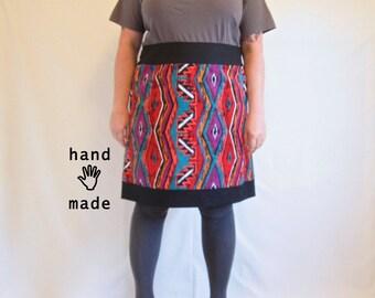 Furiosity Skirt - plus size, red black, 1980s tribal print cotton fabric, women's skirt, 3X, 4X, size 26, size 28 -- 50W-56H