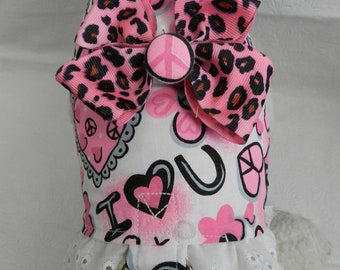 Funky PUNK Leopard & Peace Groovy Harness with Bow. Perfect Item for your Cat, Dog or Ferret. All Items Are Custom Made For Your Pet.