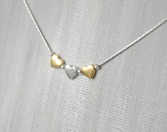 3 heart necklace. Tiny heart necklace. Tiny gold necklace. Heart necklace gold. Heart necklace silver. 3 sister. Valentine Day gift for her