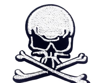 Skull cross and bones  Embroidered Iron On Patch Applique Sc32118