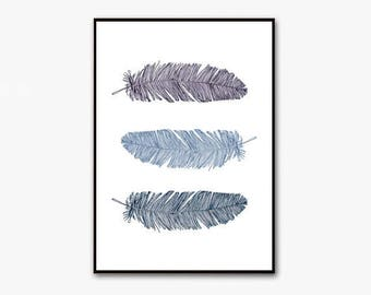 feather print, feather printable art, office decor, feather wall art, feather art, office wall art, blue feather, blue prints, download art