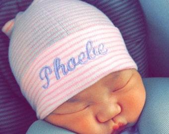 Newborn girl personalized hospital hat- take home outfit, baby girl hospital hat, baby girl hat, pink hospital hat, newborn hat