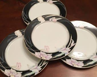 Mikasa Charisma Black Salad Plates (set of 4) Fine China Black Rim W/Flowers Gold Trim