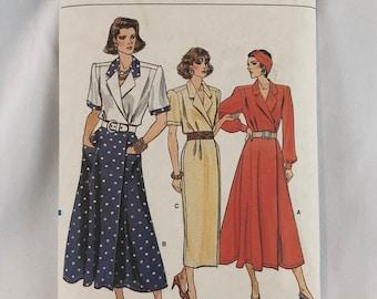 Vogue Sewing Pattern 9874 Misses Dress Size 8 10 12 Plus Size Vintage
