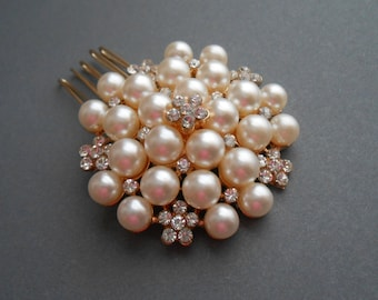 Bridal Pearl Comb Vintage Weddings Ivory Pearls And Crystal Flower Brooch Comb SALE