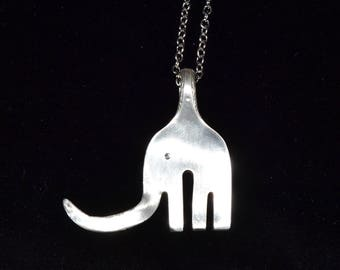 Elephant Silver-Plated Spoon Necklace