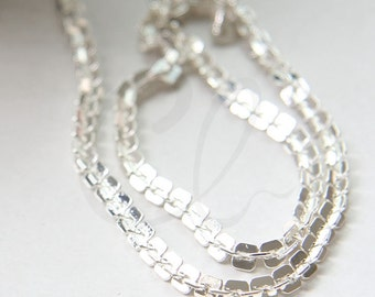One Foot Premium Silver Plated Hand Linked Chain- Rectangle 4mm (YIPF4-09)