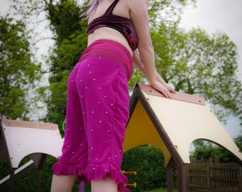 Purple embellished bloomers, tribal fusion clothing, belly dancing cropped trousers, capri pants, shorts, circus costume, steampunk festival