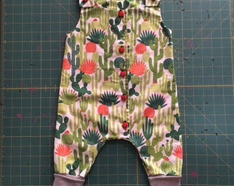 6-9 Month Cactus and Ladybug Button front Cuffed bodysuit romper