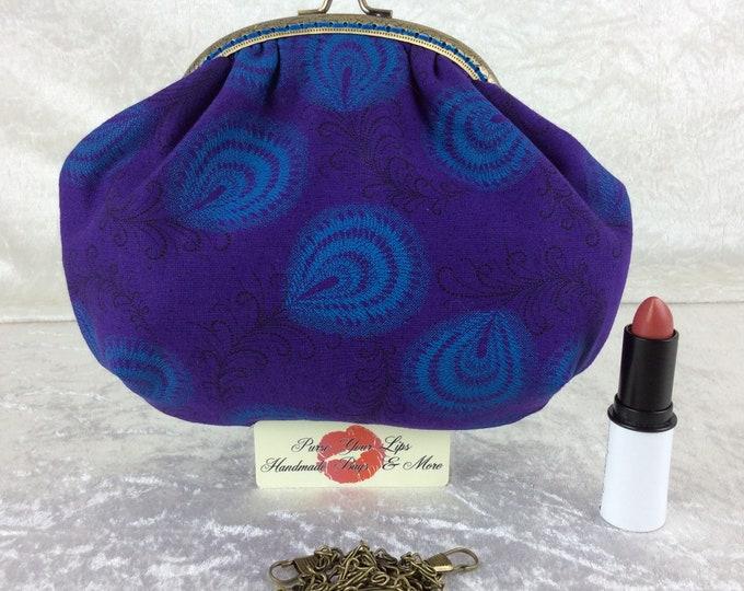 Handmade handbag purse clutch kiss clasp Alice frame bag Shwe Shwe Feathers