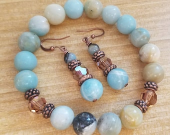Beautiful amazonite beaded stretch bracelet and matching earrings