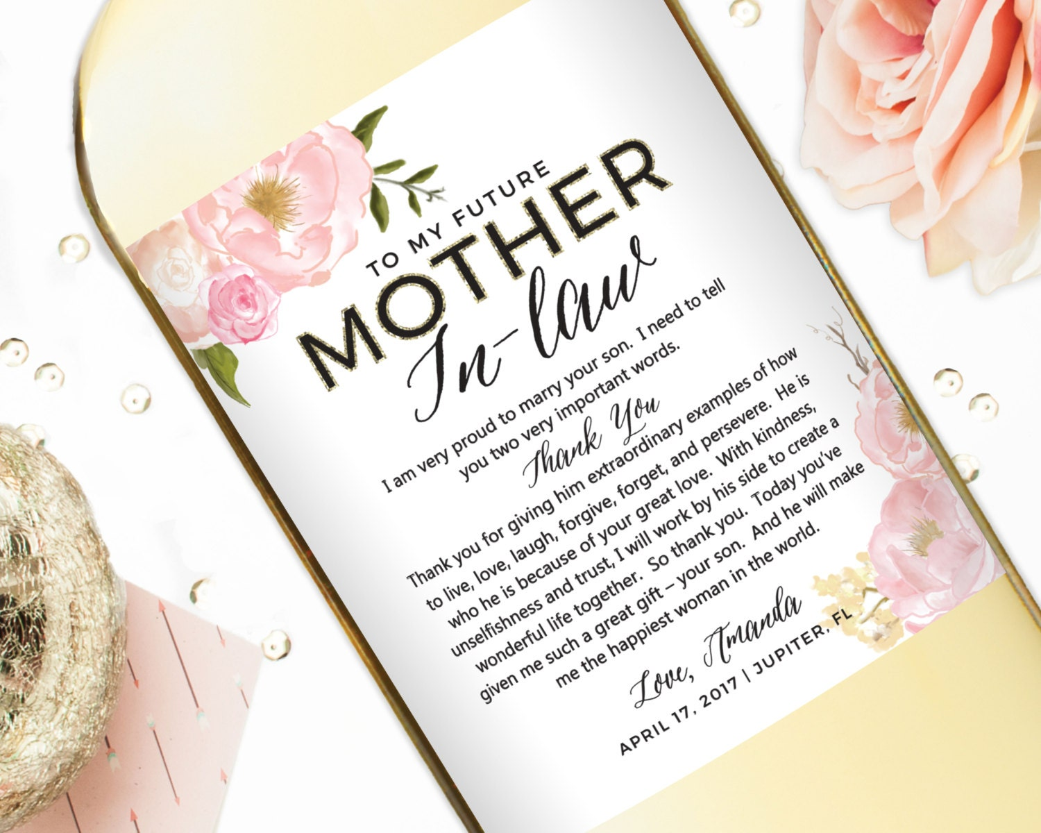 Wedding gift wine labels for parents mother of the bride zoom thecheapjerseys Images