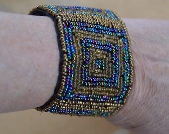 On sale Pretty Vintage Gold, Blue, Purple Glass Seed Bead Bracelet, Boho, Velcro Closure (AJ1)