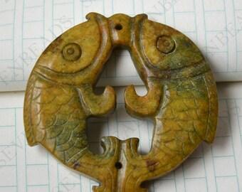 Double Side face carving fish jade jade Flower Long Life Card pendant Bead Gemstsone,Amulet Talisman jade pendant findings