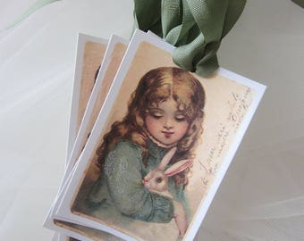 Little Girl with the Bunny Sugar Coated Gift TAGS 8