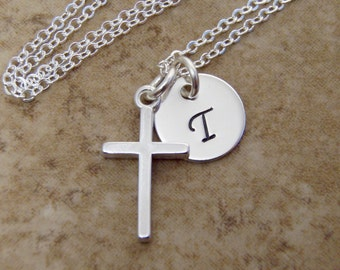 Personalized cross and initial necklace - God daughter, Godmother gift - Girl's first communion - Simple cross necklace in sterling silver
