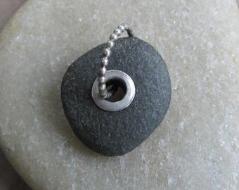 Large Riveted Beach Stone Charm Silver Riveted Beach Stone Pendant Sterling Silver Rivet Black  Beach stone Charm