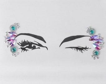 Festival Face Jewels | Purple Holographic and Green Face & Body Jewels Sticker, Festival, Rave, EDC, Coachella | Rave Festival Face Stickers