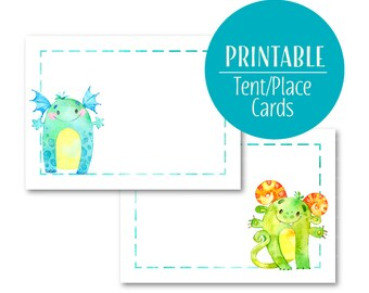 Monster Food Labels | Monster Party Decor Buffet cards | Lil' monster party | Tent Cards | Printable Place Cards | 1579