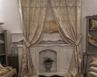 Damask Ivory silk curtain Italian luxury