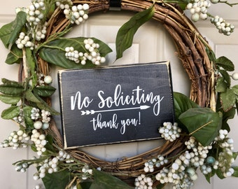 No Soliciting Sign Thank You Wood Sign Housewarming Gift Front Door Sign Porch Decor Under 15 No Soliciting Sign Black Sign Ready to ship