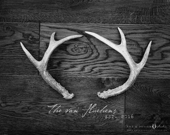 Rustic Antler Art, Rustic Home Decor, Surname Wall Art, Established Date Print, Personalized Photo Gift, Rustic Fall Decor, Family Print