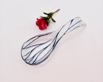 Fused glass spoon rest or dish in clear with blue lines