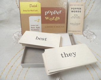 Dolch Popper Words flash cards /  set 2, whole box   / 1960 vocabulary cards / vintage word flashcards / language lesson