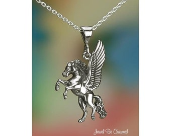 "Sterling Silver Flying Horse Pegasus Necklace 16-24"" or Pendant Only"